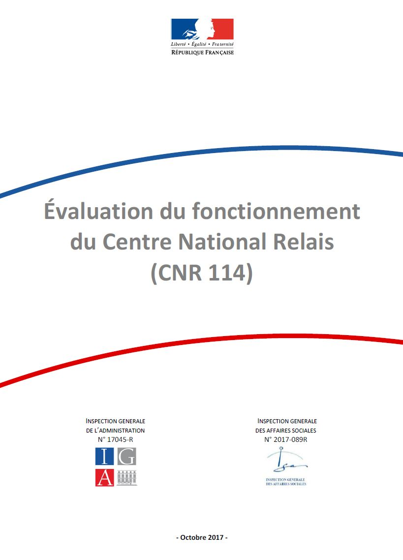 Évaluation du fonctionnement du Centre National Relais (CNR 114)